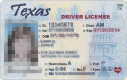 Sample Texas Drivers License